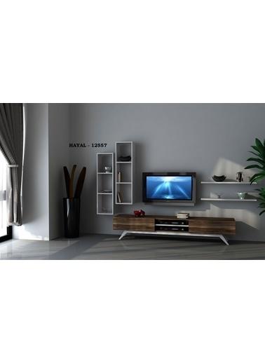 Sanal Mobilya Hayal 12557 Tv Ünitesi Leon Ceviz/Parlak Beyaz Beyaz